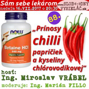 Sám sebe lekárom 88 (Prínosy chilli papričiek a kyseliny chlórovodíkovej)