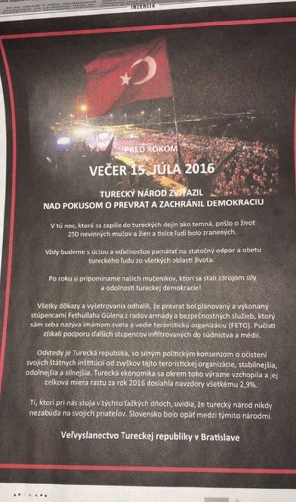 Hospodárske noviny vyšli s inzerátom oslavujúcim potlačenie prevratu v Turecku. 1
