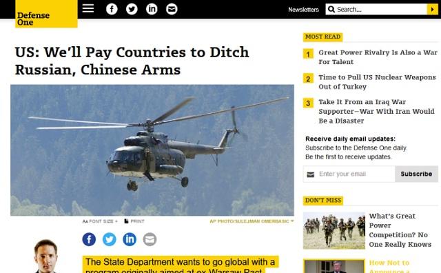 """Američania sa snažia všetkými spôsobmi zabrániť tomu, aby viaceré štáty nakupovali ruské zbrane. Vymysleli preto nový druh """"podplácania."""" 1"""