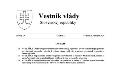 VYHLÁŠKA Úradu verejného zdravotníctva Slovenskej republiky, ktorou sa nariaďujú opatrenia pri ohrození verejného zdravia k režimu vstupu osôb do priestorov prevádzok a priestorov zamestnávateľa