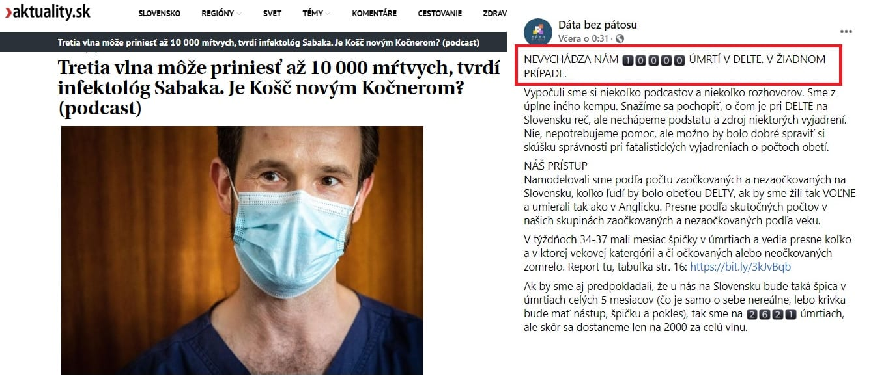 Sabaka predpovedá ďalších 10-tisíc obetí koronavírusu, ale Dáta bez pátosu vypočítali iné číslo. 1